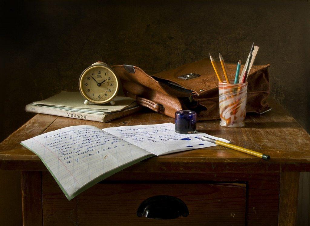 travail scolaire, écrire, still life