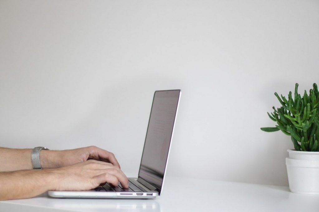 mains, ordinateur portable, travail